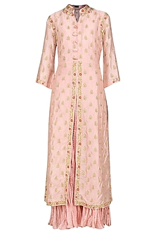 Pink Embroidered Kurta with Dupatta by Swati Jain
