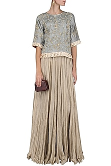 Grey Embroidered Top with Beige Skirt by Swati Jain