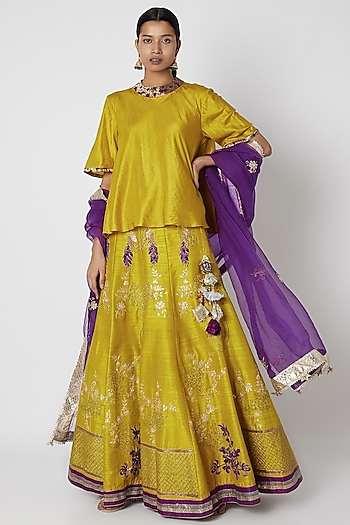 Lime Yellow & Purple Embroidered Lehenga Set by Swati Jain