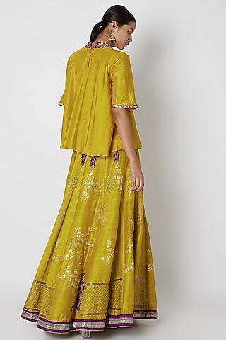 Lime Yellow & Purple Embroidered Lehenga Set by Swati Jain