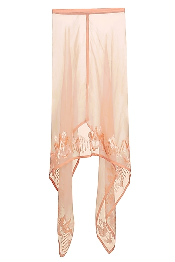 Peach Sequin Embellished Square Kaftan by Swatti Kapoor