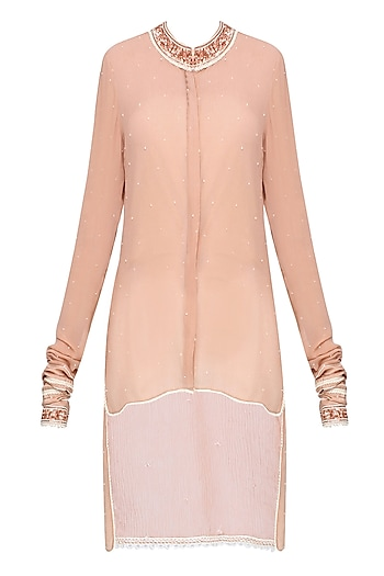 Peach Embellished High-Low Shirt by Swatti Kapoor