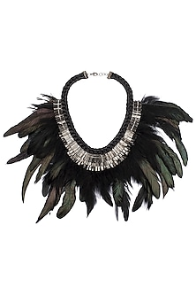 Gunmetal Plated Faux Rooster Feathers Necklace by Store Without A Name