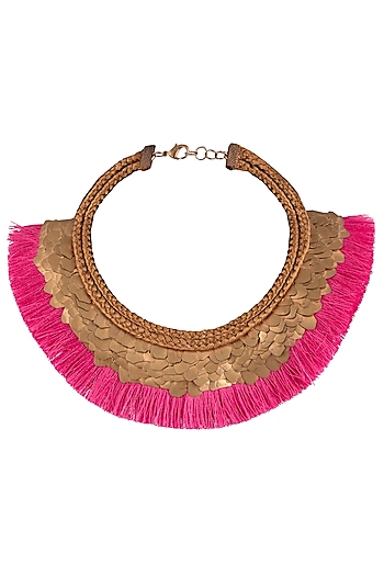 Antique Copper Brass Sequins and Fringe Lace Necklace by Store Without A Name