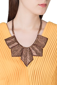 Copper Brass Pipes and Kasab Necklace by Store Without A Name