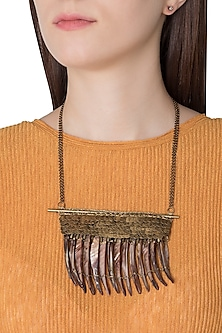 Gold Plated Mother Of Pearl Beads Chain Necklace by Store Without A Name