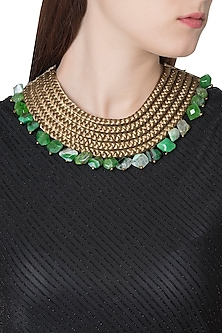 Gold Plated Green Lace and Agate Beads Embroidered Necklace by Store Without A Name