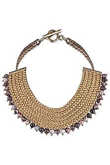 Gold Plated Brown Agate Beads Embroidered Necklace by Store Without A Name