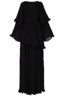Black pleated peplum gown by Swatee Singh