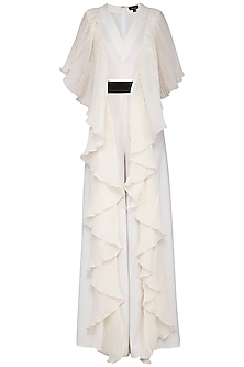 Ivory pleated drape jumpsuit by Swatee Singh