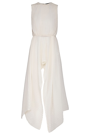 Ivory pleated asymmetrical top by Swatee Singh