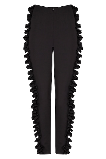 Black textured frill pants by Swatee Singh