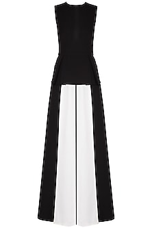 Black and ivory box pleated jumpsuit by Swatee Singh