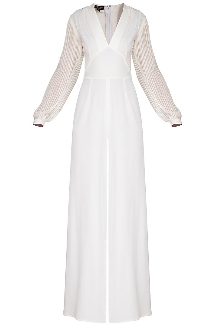 Ivory pleated sleeves jumpsuit by Swatee Singh