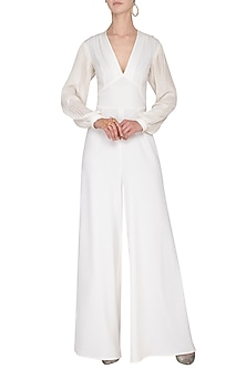 Ivory pleated sleeves jumpsuit by Swatee Singh