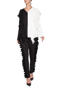 Black and ivory pleated top by Swatee Singh