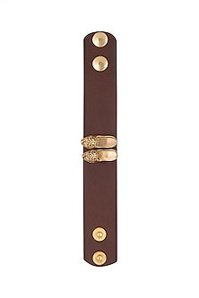 Gold Plated Leather Band Rakhi by Symetree