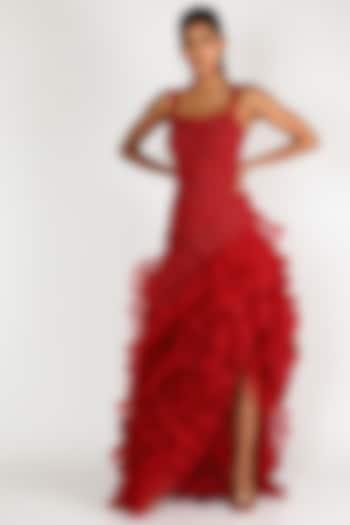Maroon Crystal Gown by SHRIYA SOM