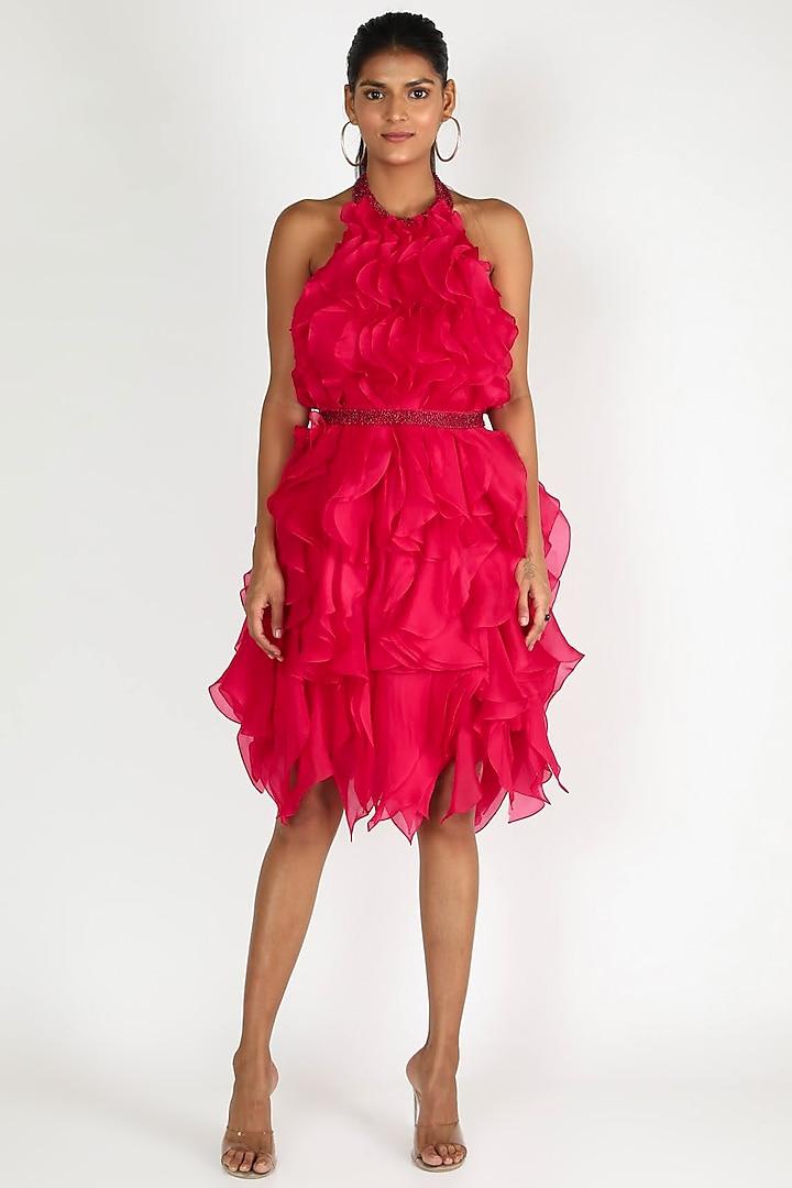 Fuchsia Ruffle Dress by SHRIYA SOM