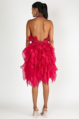 Fuchsia Ruffle Dress by SHRIYA SOM