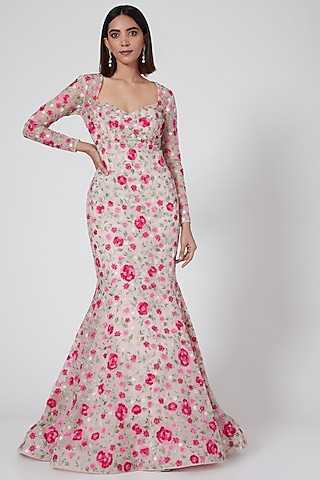 Light Pink Floral Embroidered Fishtail Gown by SHRIYA SOM