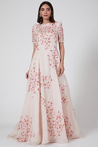 Blush Pink Floral Gown by SHRIYA SOM