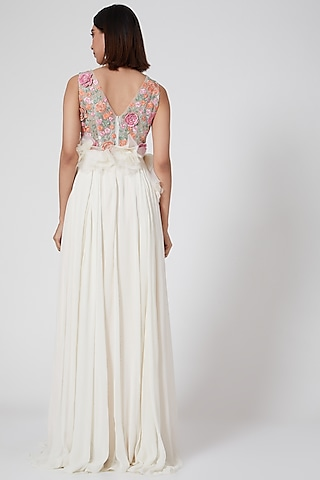 White Floral Embroidered Pleated Gown by SHRIYA SOM