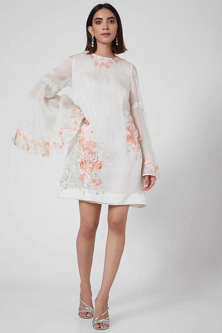 White Floral Embroidered Mini Dress by SHRIYA SOM