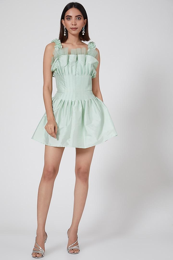Mint Green Pleated Mini Dress by SHRIYA SOM