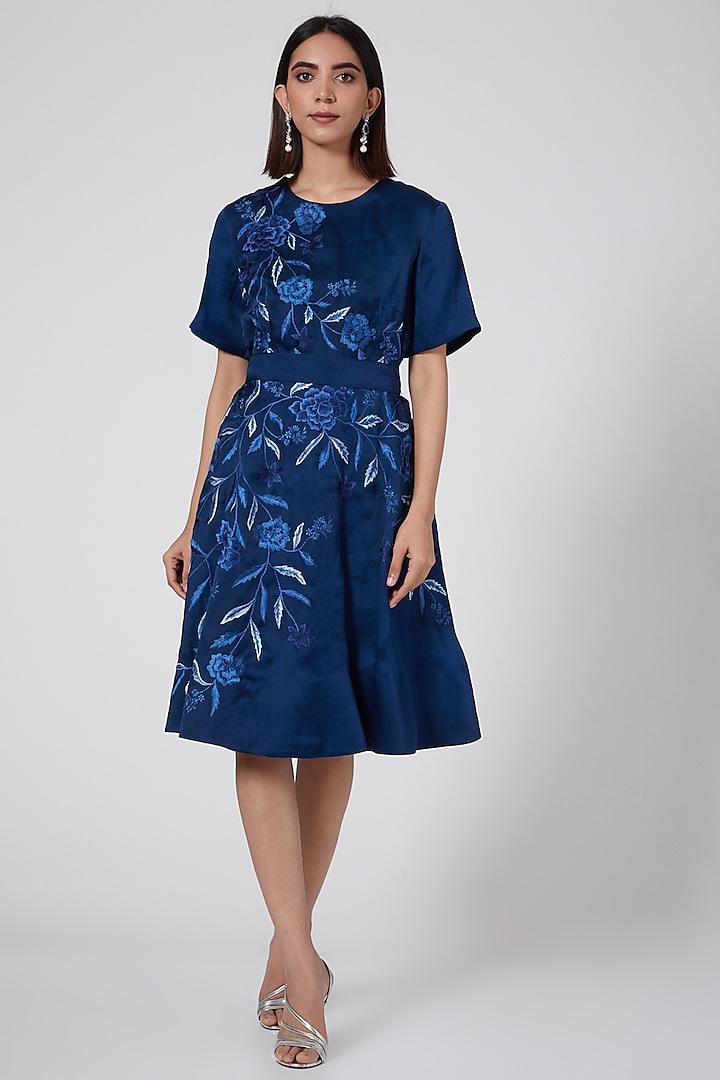 Navy Blue Embroidered Dress by SHRIYA SOM