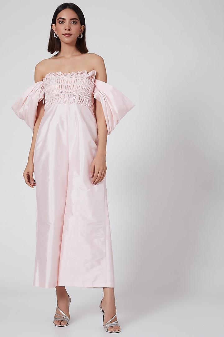 Blush Pink Shirring Jumpsuit by SHRIYA SOM
