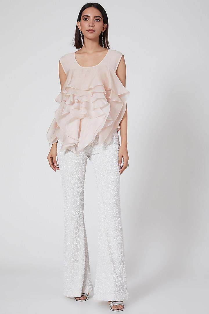 White Tulle Bell Bottom Pant by SHRIYA SOM
