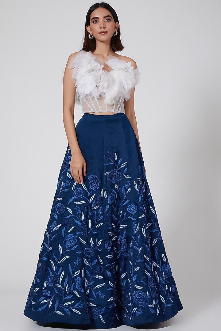 Navy Blue Organza Maxi Skirt by SHRIYA SOM
