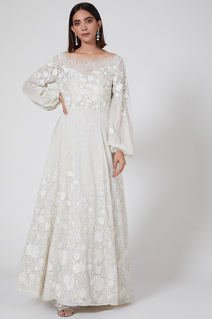 White Floral Sequins Gown by SHRIYA SOM