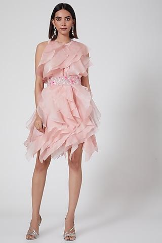 Blush Pink Ruffles Mini Dress by SHRIYA SOM