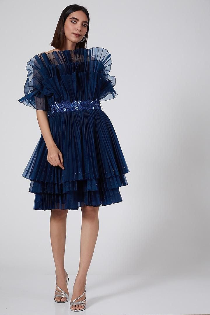 Navy Blue Ruffled Cabbage Dress by SHRIYA SOM