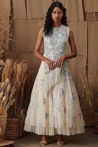 Ivory Floral Midi Dress by SHRIYA SOM