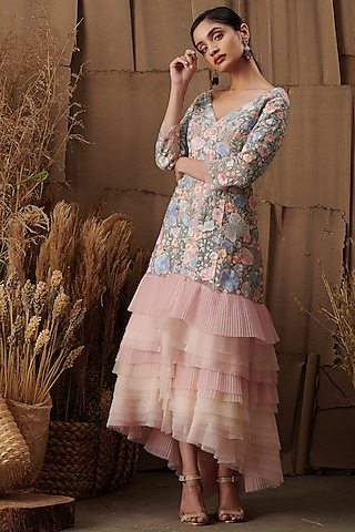Blush Pink Floral Embroidered Dress by SHRIYA SOM