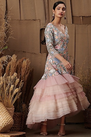 Blush Pink Floral Embroidered Dress by SHRIYA SOM