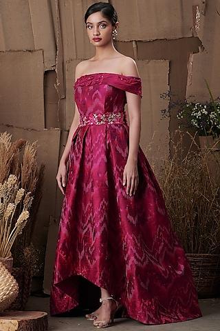 Fuchsia Cascading Off Shoulder Dress by SHRIYA SOM