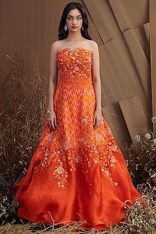 Orange Floral Embroidered Skirt Set by SHRIYA SOM