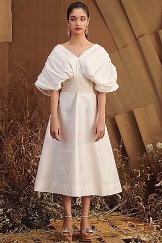 Ivory Draped Midi Dress by SHRIYA SOM