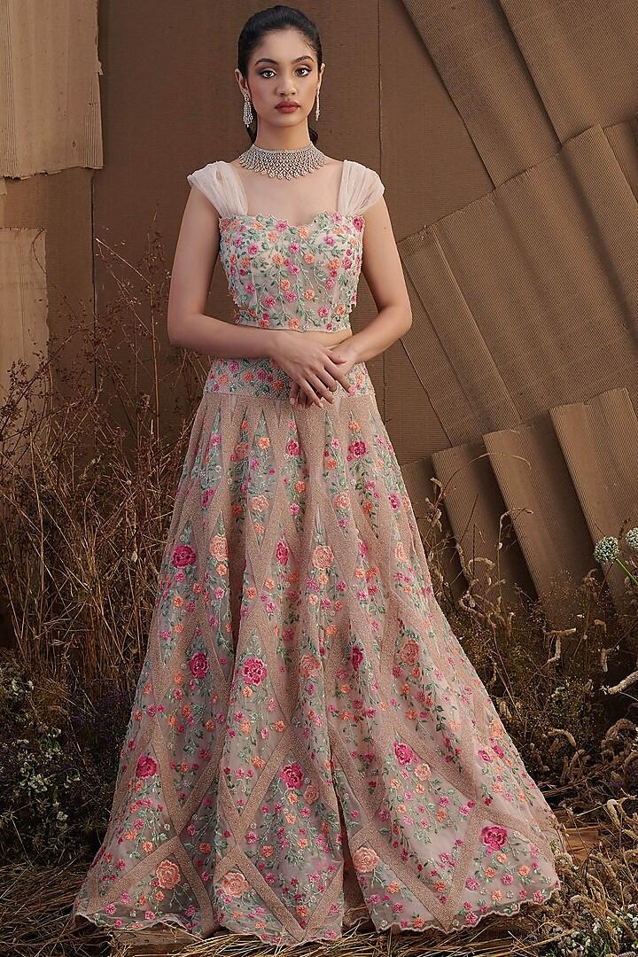 Beige Diamond Embroidered Skirt Set by SHRIYA SOM