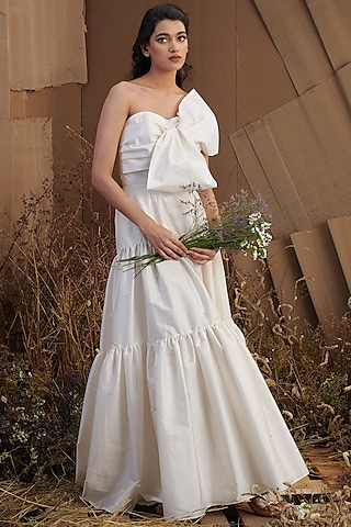 Ivory Tiered Gown With Bow by SHRIYA SOM