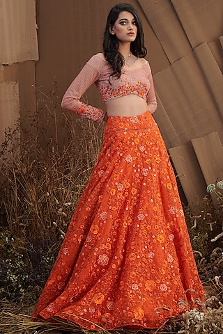 Orange Floral Embroidered Skirt Set by SHRIYA SOM