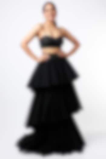 Black Three Layered Skirt by SHRIYA SOM