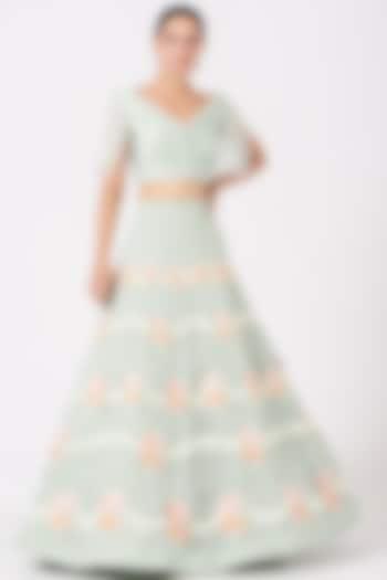 Mint Green Floral Embroidered Skirt by SHRIYA SOM