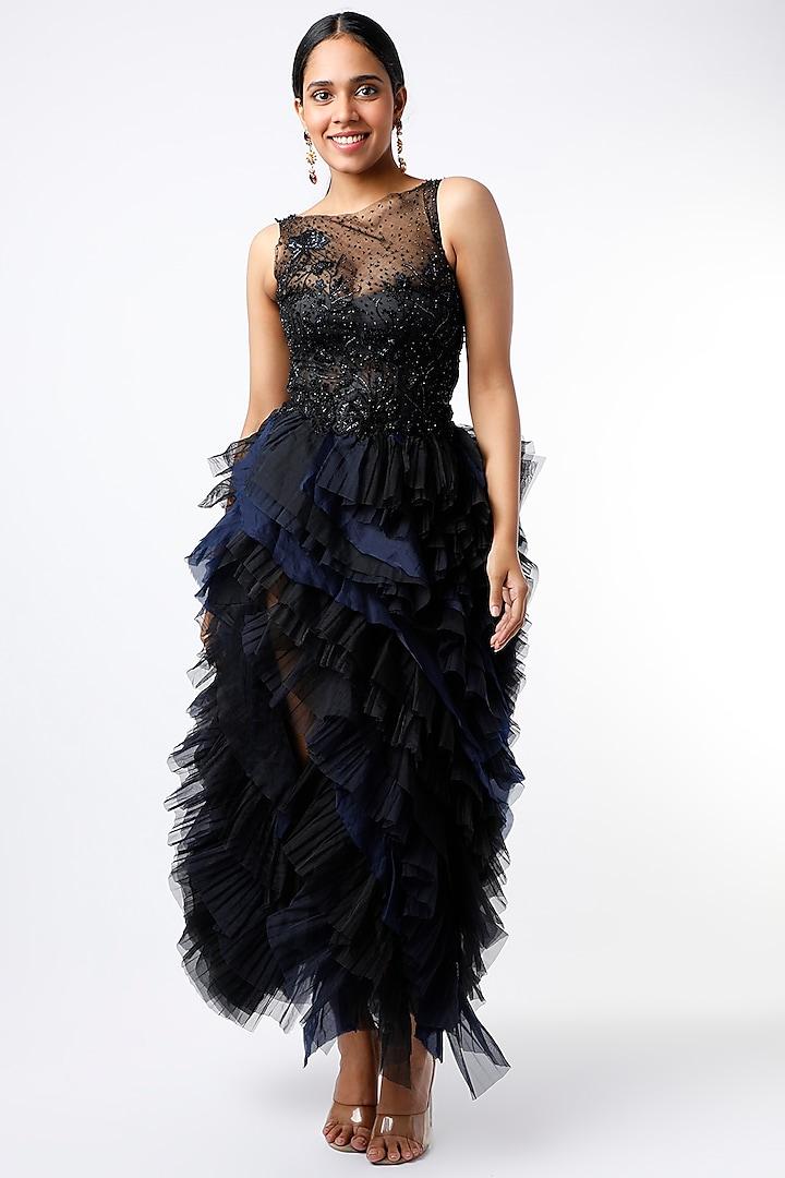Black & Blue Floral Embroidered Midi Dress by SHRIYA SOM