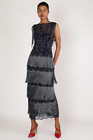 Cobalt Blue Four Layered Midi Dress by SHRIYA SOM
