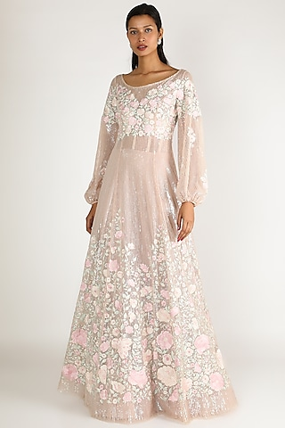 Blush Pink Embroidered Gown by SHRIYA SOM